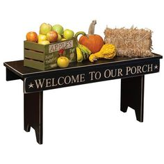 Amish Foyer Benches & Hall Trees | American Made 3' Message Bench ($63) ❤ liked on Polyvore featuring home, home decor, black hall tree, heart sign, text signs and black home decor