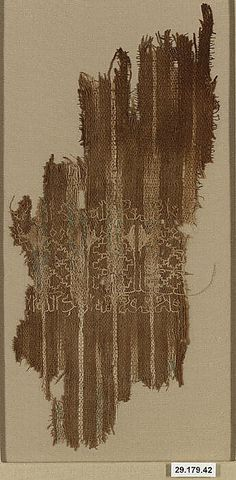 Fragment  Date: 10th century  Geography: Yemen  Medium: Cotton, plain weave, resist-dyed (ikat), embroidered  Dimensions: H: 9 13/16 in. (25 cm W: 4 3/4 in. (12.1 cm)  Accession Number: 29.179.42