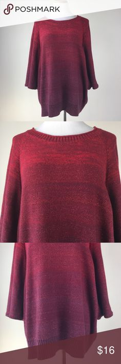 "ana size 3X Ombre Batwing Sweater This is a plus size 3X ombre 3/4 Sleeves batwinged pullover sweater by ana. Red to purple color. 65% Cotton, 22% nylon, 7% angora rabbit hair, 6% other fiber. Like New. Great shape and excellent condition. Shoulder to shoulder 20.5"" pit to pit 26"" sleeve length 16.5"" garment length 29"" a.n.a Sweaters Crew & Scoop Necks"