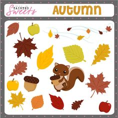 Autumn Clip art Set by danger0usangel03 on Etsy, $5.00 #autumn #fall #leaves #october #seasons #squirrel #clipart #printable