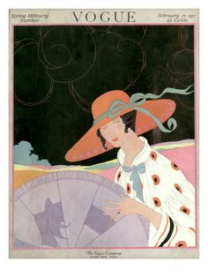 Vogue Cover - February 1917    Illustration of woman in white, orange and black dress, hat and purple parasol - SPRING MILLINERY NUMBER.
