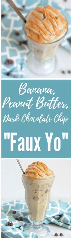 Banana, Peanut Butter, Dark Chocolate Chip -Faux Yo | CaliGirlCooking.com
