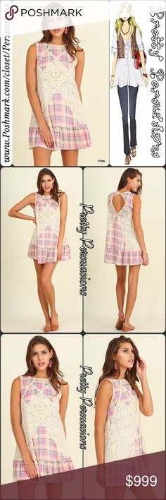 """SALE  Pink Plaid & Lace Sleeveless Angel Dress NWT Printed Crochet Trim Boho Tank Dress Tunic  Available in sizes S, M, L Measurements taken from a size small  Length: 34.5"""" Bust: 38"""" Waist: 41"""" Hips: 46""""  Features • printed pink plaid pattern • floral lace crochet detailing & trim • open back  • sleeveless  • relaxed, easy fit • soft, breathable material  • ruffle hem  Cotton blend  Bundle discounts available  No pp or trades   Item # 1o1-6-22-0430PPD Pretty Persuasions Dresses Mini"""