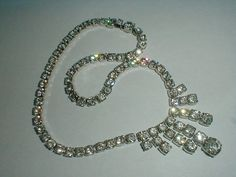 rhinestone necklace vintage clear sp by fadedglitter42263 on Etsy, $48.00