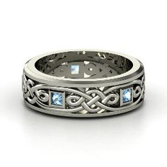Alhambra Knot Band, Men's White Gold Ring with Blue Topaz from Gemvara