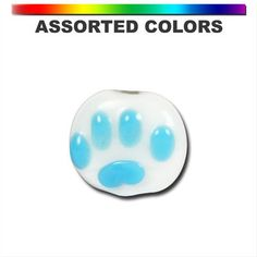 12mm Assorted Paw Print White Beads