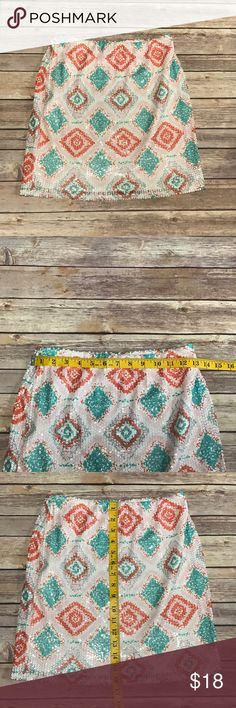 Francesca's sequined skirt- Medium. Cute sequined skirt by Francesca's. Elasticated waist with a soft liner. Excellent used condition- no damage. Size Medium with stretch. Waist and length measurements included in photos. Offers welcomed. Francesca's Collections Skirts Mini