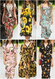 More pattern inspiration from Dolce & Gabbana Spring Summer 17... large florals, small florals, florals + fish, pasta, and cocktails. ;-)