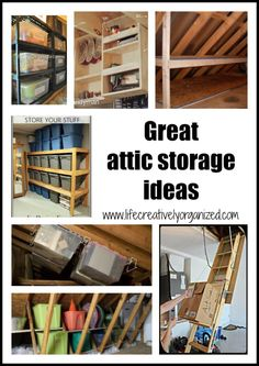 Wish you could use that extra space in your attic to store rarely used items, but aren't sure how to? Here are some great attic storage ideas to help. lifecreativelyorganized.com
