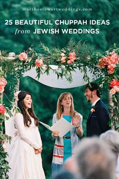 25 Beautiful Chuppah Ideas from Jewish Weddings | Martha Stewart Weddings - Chuppahs, which are canopies traditionally reserved for Jewish weddings, are making statements at ceremonies of all types, from nondenominational to secular. After all, a chuppah symbolizes the home a couple will build together during their marriage, and that's a sentiment anyone can get behind. Here, a roundup of some of our favorite chuppahs from real weddings.