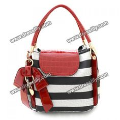 Trendy Bow and Stripes Design Women's Tote Bag, AS THE PICTURE in Tote Bags | DressLily.com