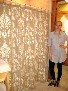 Shower curtain liner stenciled with Cutting Edge Stencil - tips for stencil on fabric included -- DIY tutorial ~~
