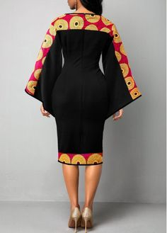 Tribal Print Keyhole Neckline Flare Sleeve Dress | Rotita.com - USD $31.37