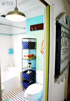 Beach Bathroom Decor - love the colors and the industrial lights & storage!  eclecticallyvintage.com
