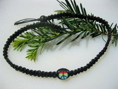 Black Hemp Choker/Necklace  Peace Symbol  by EclecticCraftVenue