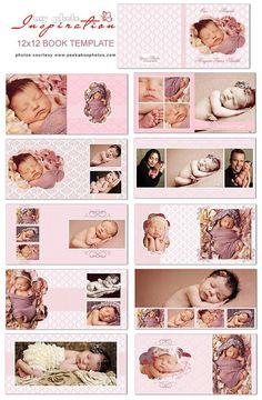 Baby girl album template - Wedding Album / Book template for photographers - Wedding Album Books, Wedding Album Layout, Photo Album Scrapbooking, Scrapbook Albums, Photo Signature, Baby Photo Books, Girls Album, Baby Girl Photos, Album Design