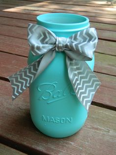 Robin's Egg Blue Painted Mason Jar with Bow Mason Jar Centerpieces, Wedding Centerpieces, Wedding Decor, Wedding Ideas, Mason Jar Wine, Mason Jar Crafts, Robins Egg Blue Paint, Craft Projects, Projects To Try