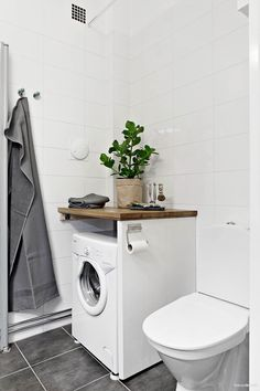 Bathroom small washing machine toilets 55 Ideas for 2019 Small Laundry Rooms, Laundry Room Storage, Laundry In Bathroom, Bathroom Storage, Small Bathroom, Master Bathroom, Small Washing Machine, Portable Washing Machine, Ideas Baños
