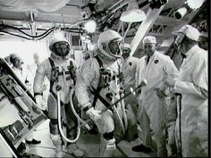 S66-34051 Astronauts Stafford and Cernan arrive in the White Room atop Pad 19