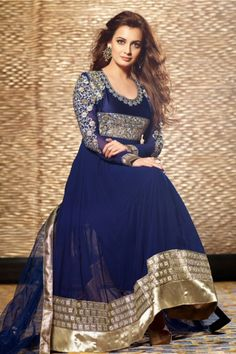 Diya Mirza Suit-Blue Faux Georgette #Anarkali #Suit with Embroidered and Lace Work - Rs. 4,599.  #Zohraa.com