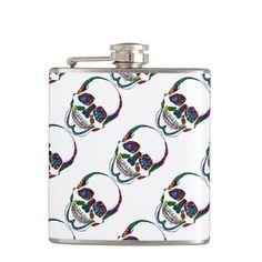 Colorful Hand Drawn Sugar Skull Pattern Flask #flasks #gifts #skulls #skeleton #sugarskull