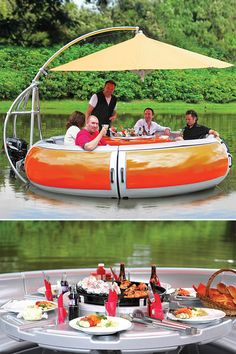 BBQ Boat // It's a real boat with a built-in BBQ designed for dining with up to 10 adults and powered by an electric motor!! What?!