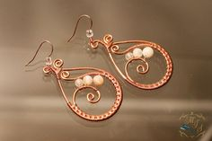 White Glass Bead and Copper Earrings / wire wrapped earring /
