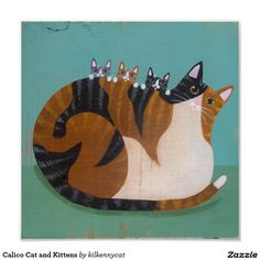 Calico Cat and Kittens Poster