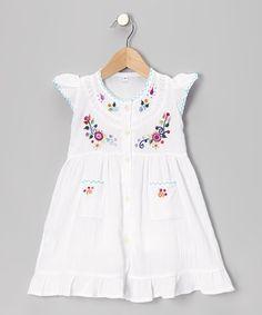 Little Cotton Dress White Embroidered Santy Dress - Infant, Toddler & Girls by Little Cotton Dress #zulily #zulilyfinds