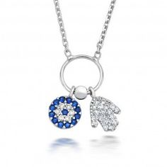 Bling Jewelry // Sapphire Color CZ Evil Eye Hamsa Hand Multi Charm Necklace Silver
