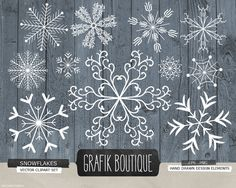 Snowflakes christmas decoration rustic background vector clipart, diy season's greetings