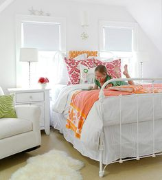 Use different patterns and colors to make white furniture pop! More kid's rooms: http://www.bhg.com/rooms/kids-rooms/girls/bedrooms-for-girls/?socsrc=bhgpin072913white