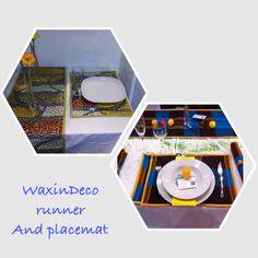 Sets et chemin de table en Wax / décoration de table en Wax / waxprint runner and placemat / table Deco / african touch / african Home / african inspiration / WaxinDeco product / eshop.waxindeco.com