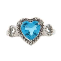 Diamond Heart Shaped Blue Topaz Birthstone Sterling Silver Ring Available Exclusively at Gemologica.com