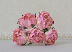 30  mm   / 5  Mixed  Yellow  Pink   Paper  Rose Buds #Pink #Wedding #PinkWedding #Paper
