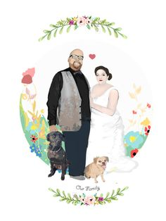 Family Gifts, Couple Gifts, Dog Portraits, Family Portraits, Dog Gifts, Digital Illustration, Valentine Gifts, Special Gifts, Tourism
