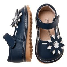 1f8b171a3ca Gorgeous Little Blue Lamb toddler girls leather squeaky shoes in Navy with  flower detail. Australian stockist Tiptoe   Co.