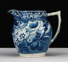 A very nice circa Staffordshire dark blue transferware milk pitcher in an ornate pattern with birds, nest of eggs, fruit and flowers. Blue And White China, Blue China, Love Blue, Navy And White, Blue Dishes, White Dishes, Blue Couches, Blue Pottery, Blue Rooms