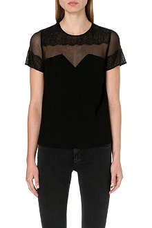 Sandro's delicately woven top is perfect for those with a love of demure, yet slightly suggestive style. Features short sleeves, a concealed zip fastening at the back and striking sheer panels for a subtly flirtatious look. Sandro, Short Sleeves, Suits, Hoodies, Clothes For Women, T Shirt, Shopping, Collection, Tops