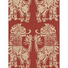 Buy Sanderson Sicilian Lions Wallpaper, DVIWSI103, Red / Gold Online at johnlewis.com