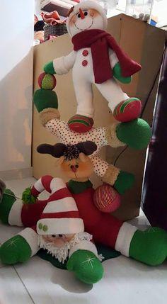 Molde - Papai Noel - Rena - Boneco de neve Download de molde de feltro para confecção de enfeites natalinos