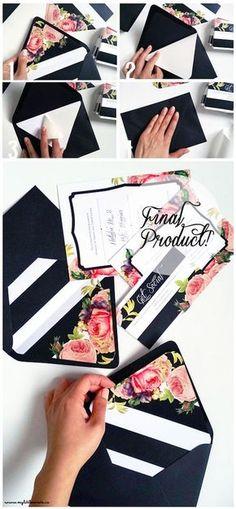 Hoy te traemos ideas y un paso a paso para mostraros como hacer sobres forrados para tus invitaciones de boda! Cortesía: My Little Secrets.