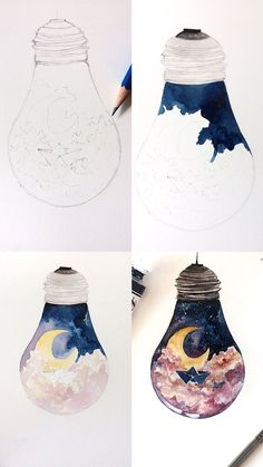 A mini tutorial of a whimsical painting of a lightbulb. The process photos show how I went about painting this piece. A mini tutorial of a whimsical painting of a lightbulb. The process photos show how I went about painting this piece. Artist Painting, Painting & Drawing, Watercolor Paintings, Painting Process, Light Painting, Baby Drawing, Watercolor Artists, Watercolor Art Diy, Painting Canvas