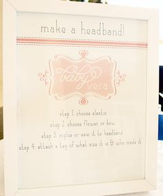 Great idea for a girl baby shower. Headband activity and prayer cards! Perfect!