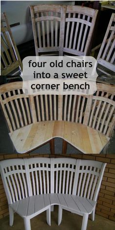 Cute corner bench made from 4 chairs. Using 4 old chairs this lady made the cutest corner bench ever. I want to find some old chairs to repurpose! Furniture Projects, Furniture Makeover, Diy Furniture, Furniture Plans, Furniture Design, Vintage Furniture, Farmhouse Furniture, Chair Design, Design Design