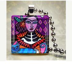 Day of the Dead Jewelry  Mexican Folk Art by HeatherGallerArt, $14.99