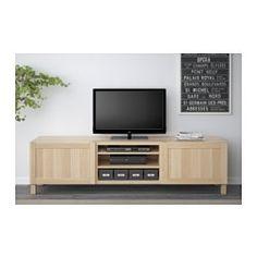 BESTÅ TV bench with drawers, Hanviken white stained oak effect - 180x40x48 cm - drawer runner, push-open - IKEA