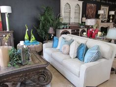 Creme chenille sofa with turquoise down filled accent pillows.. just $3645.00
