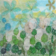 Colors of Summer, encaustic on wood panel, summer season. Ali Herrmann
