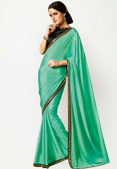 Chiffon Embellished Green Saree